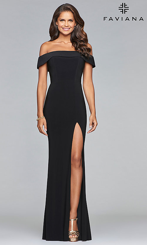 Image of off-the-shoulder long formal prom dress by Faviana. Style: FA-S10015 Detail Image 2