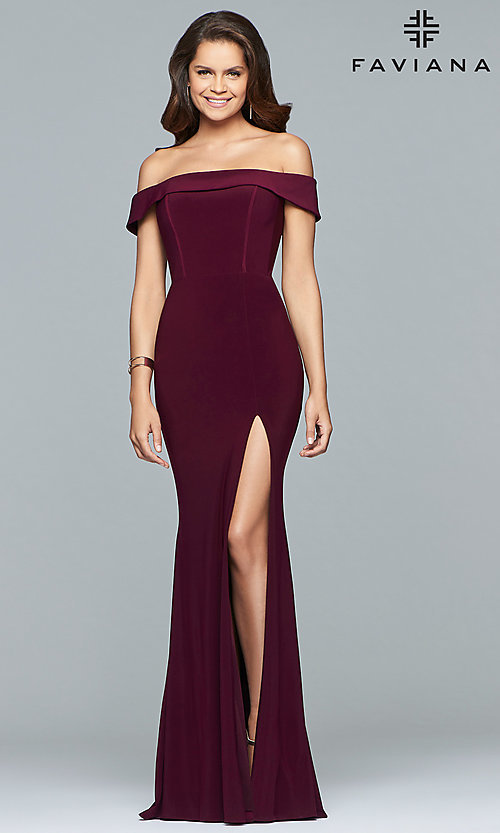 Image of off-the-shoulder long formal prom dress by Faviana. Style: FA-S10015 Front Image