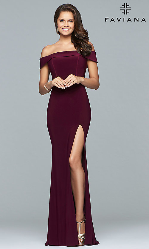 Image of off-the-shoulder long formal prom dress by Faviana. Style: FA-S10015 Detail Image 1