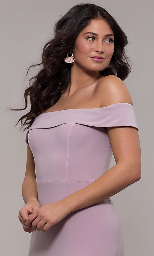 Image of off-the-shoulder long formal prom dress by Faviana. Style: FA-S10015 Detail Image 7