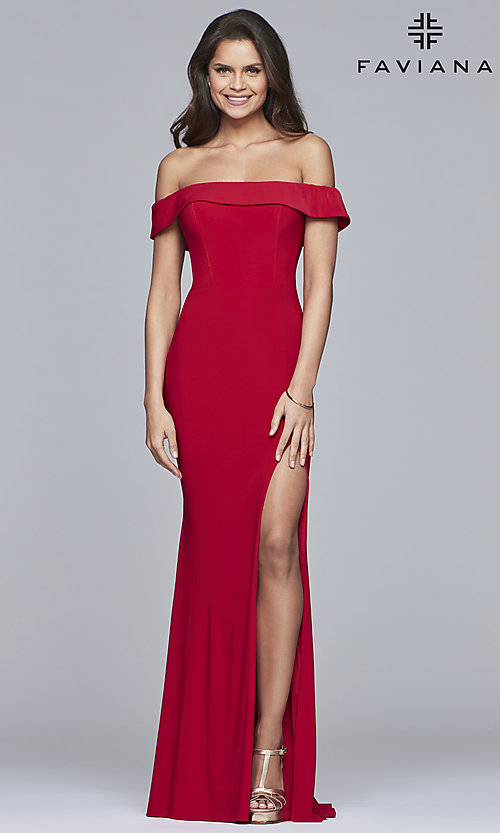 Image of off-the-shoulder long formal prom dress by Faviana. Style: FA-S10015 Detail Image 3