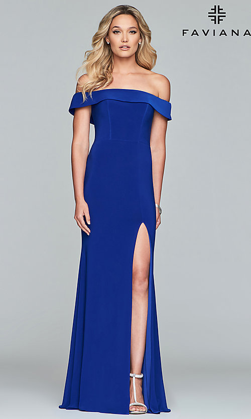 Image of off-the-shoulder long formal prom dress by Faviana. Style: FA-S10015 Detail Image 5
