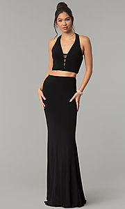 Image of Faviana two-piece long prom dress with open back.  Style: FA-10056 Detail Image 3