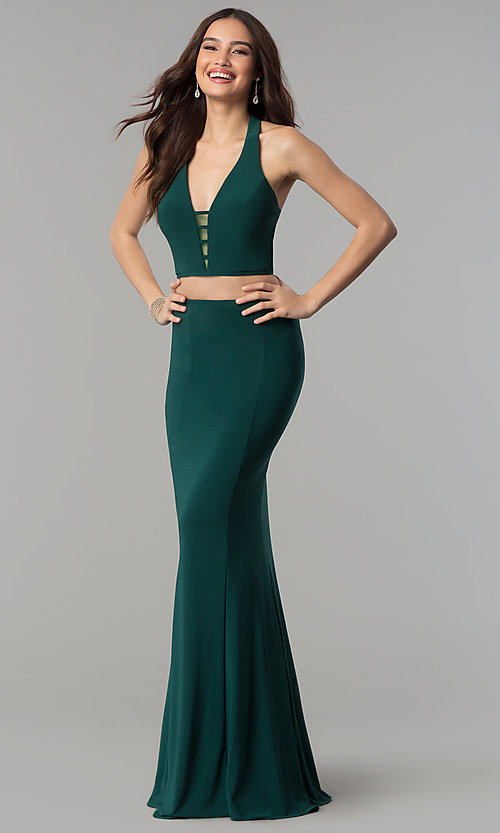Image of Faviana two-piece long prom dress with open back.  Style: FA-10056 Detail Image 1