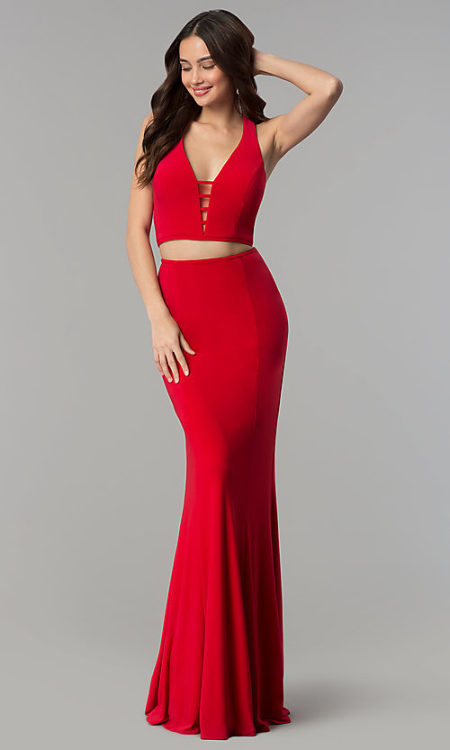 Image of Faviana two-piece long prom dress with open back.  Style: FA-10056 Front Image