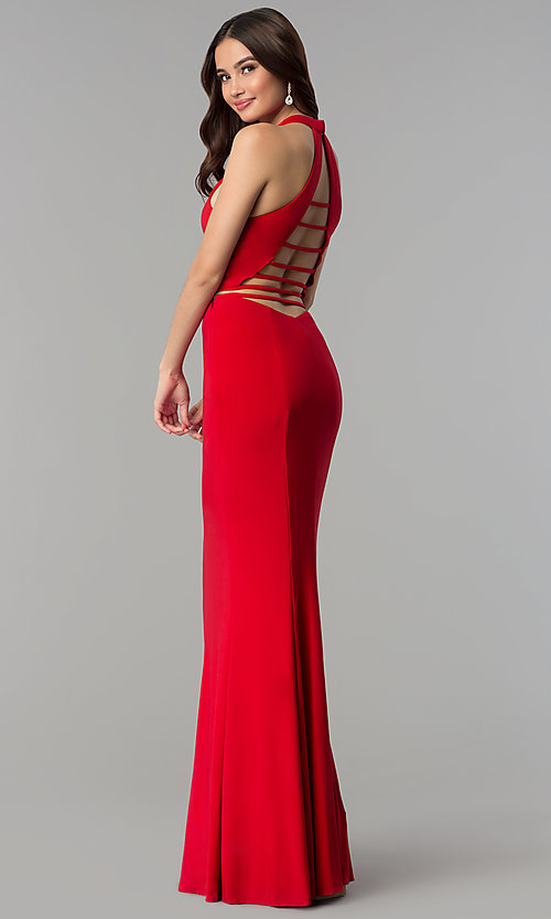 Image of Faviana two-piece long prom dress with open back.  Style: FA-10056 Back Image