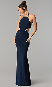 Image of Faviana long formal prom dress with side cut outs. Style: FA-S10058 Detail Image 3