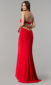 Image of Faviana long formal prom dress with side cut outs. Style: FA-S10058 Back Image