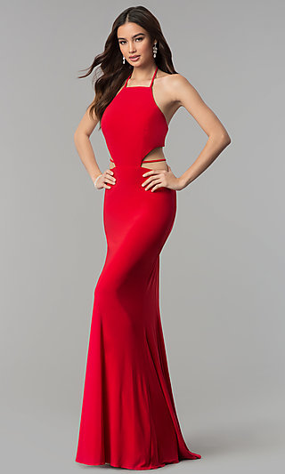 4912d819364 Faviana Long Formal Prom Dress with Side Cut Outs