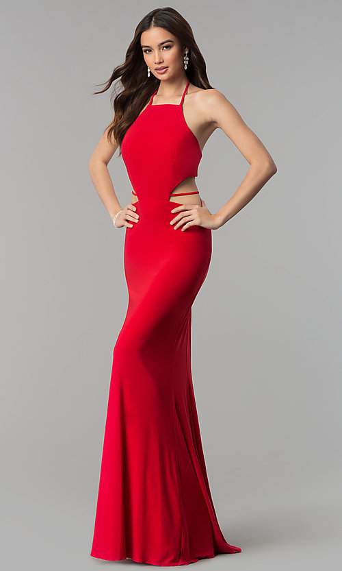 Image of Faviana long formal prom dress with side cut outs. Style: FA-S10058 Front Image