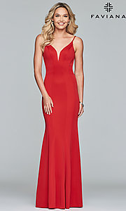 Image of Faviana v-neck long prom dress with open back. Style: FA-10071 Detail Image 4