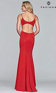 Image of Faviana v-neck long prom dress with open back. Style: FA-10071 Detail Image 5