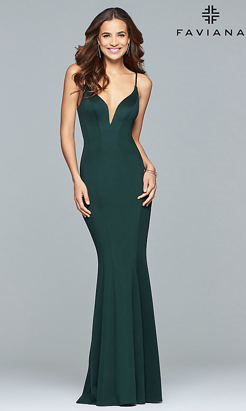 Image of Faviana v-neck long prom dress with open back. Style: FA-10071 Detail Image 3