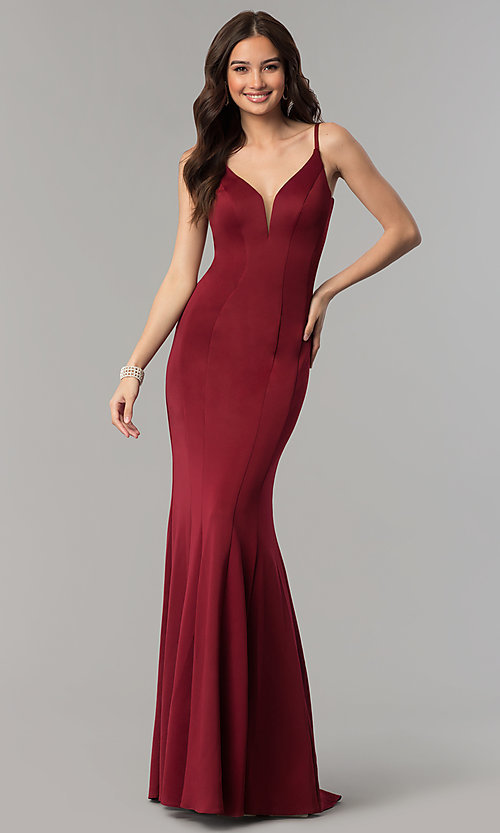 Image of Faviana v-neck long prom dress with open back. Style: FA-10071 Front Image