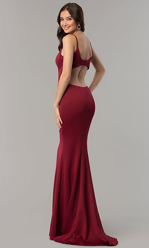 Image of Faviana v-neck long prom dress with open back. Style: FA-10071 Back Image