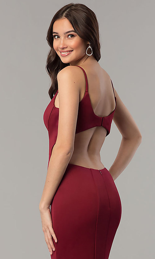 Image of Faviana v-neck long prom dress with open back. Style: FA-10071 Detail Image 2
