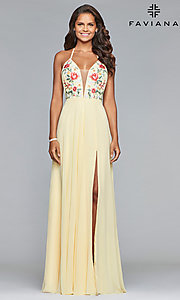 Image of embroidered-bodice long Faviana chiffon prom dress. Style: FA-10000 Detail Image 2