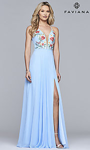 Image of embroidered-bodice long Faviana chiffon prom dress. Style: FA-10000 Detail Image 3