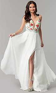 Image of embroidered-bodice long Faviana chiffon prom dress. Style: FA-10000 Detail Image 1