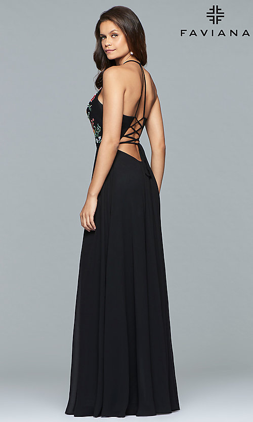 Image of embroidered-bodice long Faviana chiffon prom dress. Style: FA-10000 Back Image