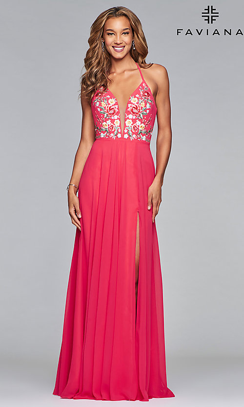 Image of embroidered-bodice long Faviana chiffon prom dress. Style: FA-10000 Detail Image 4