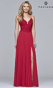Image of Faviana open-back prom dress with beaded bodice. Style: FA-10005 Detail Image 2