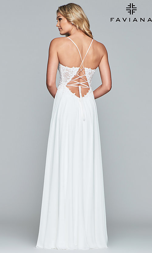 Image of Faviana open-back prom dress with beaded bodice. Style: FA-10005 Detail Image 5