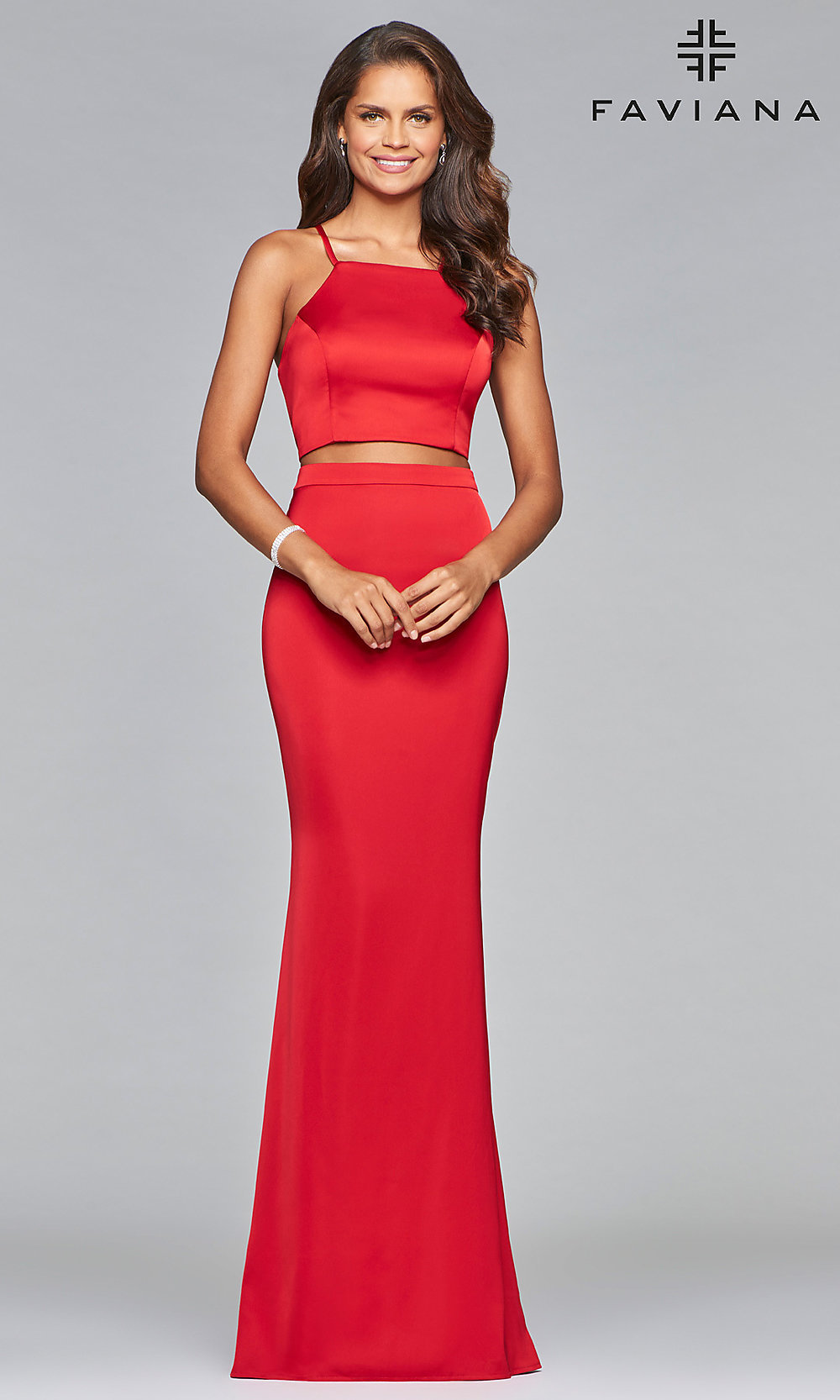 cf4880b032e5 Image of two-piece long open-back Faviana prom dress. Style: FA. Tap to  expand