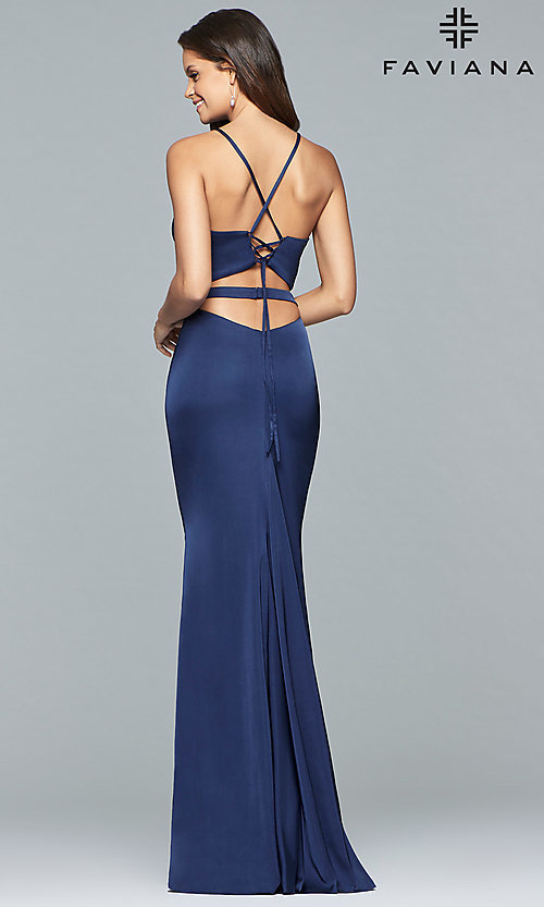 Image of two-piece long open-back Faviana prom dress. Style: FA-S10013 Back Image