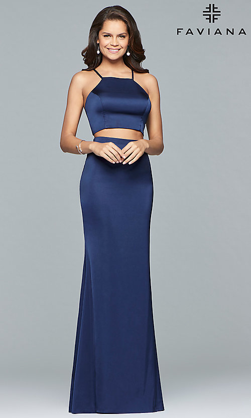 Image of two-piece long open-back Faviana prom dress. Style: FA-S10013 Detail Image 2