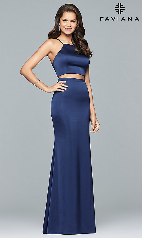 Image of two-piece long open-back Faviana prom dress. Style: FA-S10013 Detail Image 3