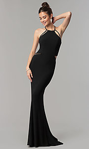 Image of long open-back sleeveless Faviana prom dress. Style: FA-10014 Detail Image 2