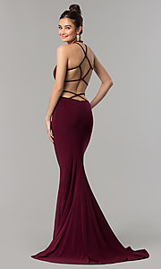 Image of long open-back sleeveless Faviana prom dress. Style: FA-10014 Front Image