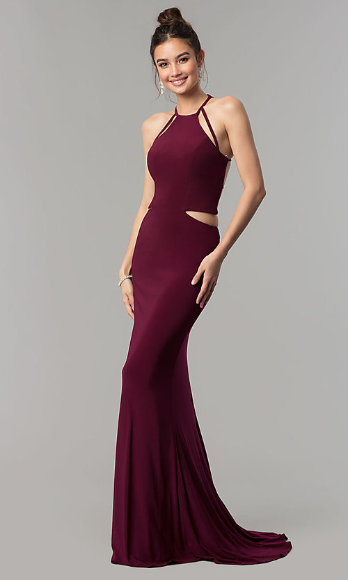 Image of long open-back sleeveless Faviana prom dress. Style: FA-10014 Back Image