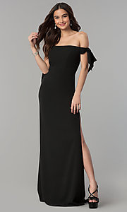 Image of off-the-shoulder long formal dress with collar. Style: FA-S10075 Front Image