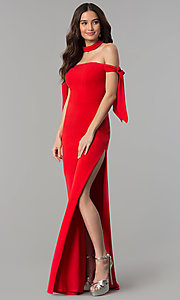Image of off-the-shoulder long formal dress with collar. Style: FA-S10075 Detail Image 3