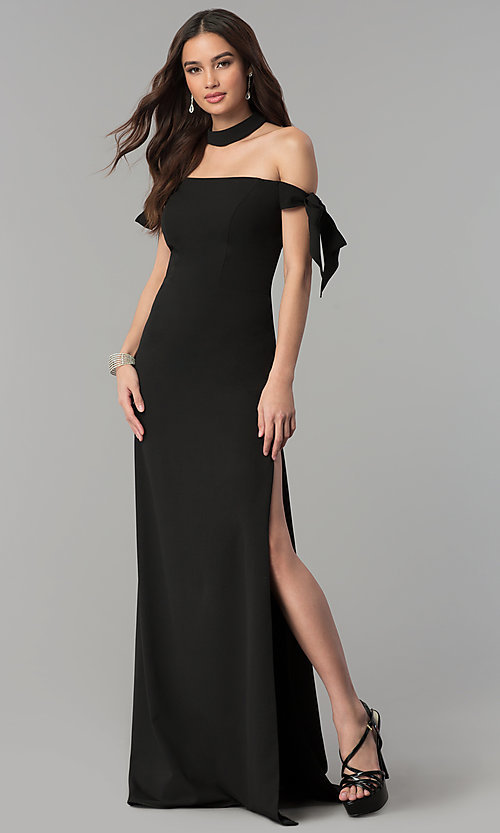 Image of off-the-shoulder long formal dress with collar. Style: FA-S10075 Detail Image 2