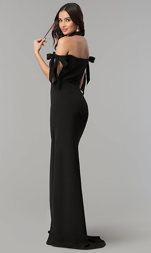 Image of off-the-shoulder long formal dress with collar. Style: FA-S10075 Back Image