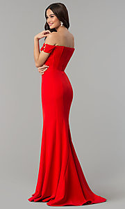 Image of Faviana off-the-shoulder long red formal dress. Style: FA-S10093 Back Image