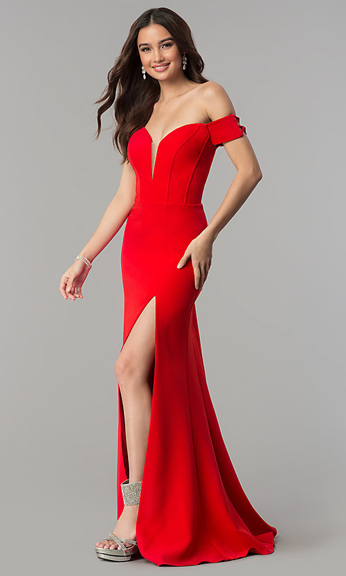 Image of Faviana off-the-shoulder long red formal dress. Style: FA-S10093 Front Image