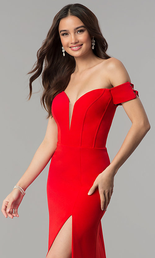 Image of Faviana off-the-shoulder long red formal dress. Style: FA-S10093 Detail Image 1