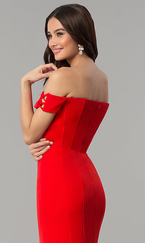 Image of Faviana off-the-shoulder long red formal dress. Style: FA-S10093 Detail Image 2
