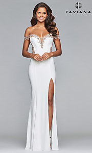Image of long Faviana off-the-shoulder sheer-back prom dress. Style: FA-S10001 Back Image