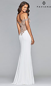Image of long Faviana off-the-shoulder sheer-back prom dress. Style: FA-S10001 Front Image
