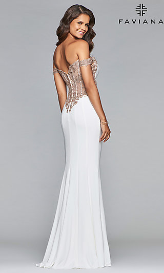 Long Faviana Off-the-Shoulder Sheer-Back Prom Dress