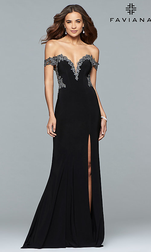 Image of long Faviana off-the-shoulder sheer-back prom dress. Style: FA-S10001 Detail Image 1