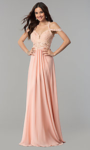 Image of chiffon long Faviana cold-shoulder formal prom dress. Style: FA-10006 Front Image