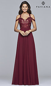 Image of chiffon long Faviana cold-shoulder formal prom dress. Style: FA-10006 Detail Image 2