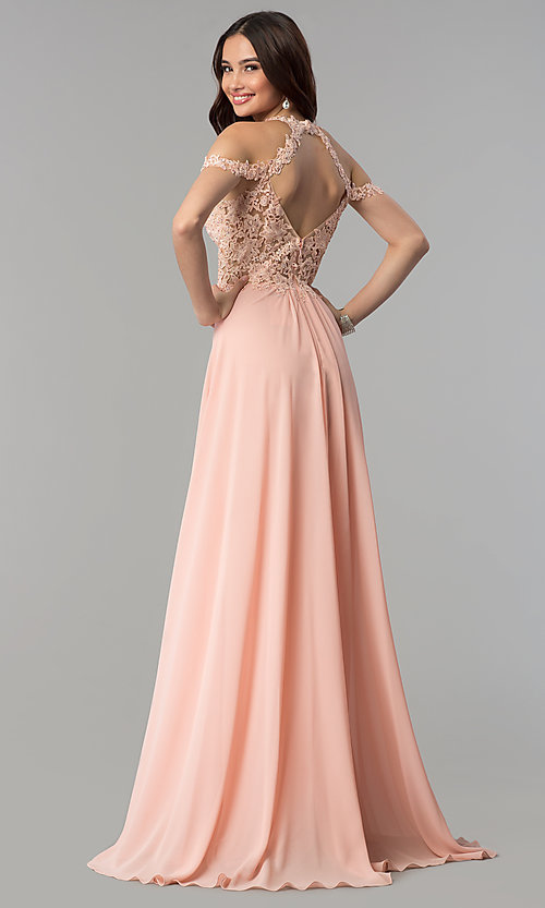 Image of chiffon long Faviana cold-shoulder formal prom dress. Style: FA-10006 Back Image