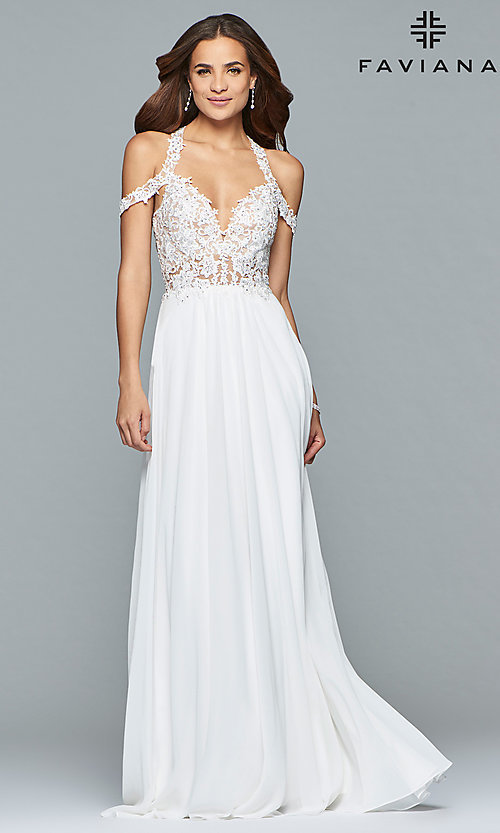 Image of chiffon long Faviana cold-shoulder formal prom dress. Style: FA-10006 Detail Image 3